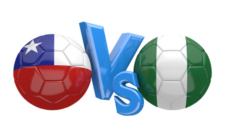 kickball: Soccer versus match between national teams Chile and Nigeria Stock Photo