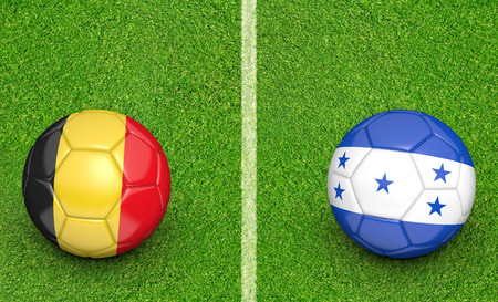 kickball: Team balls for Belgium vs Honduras soccer tournament match