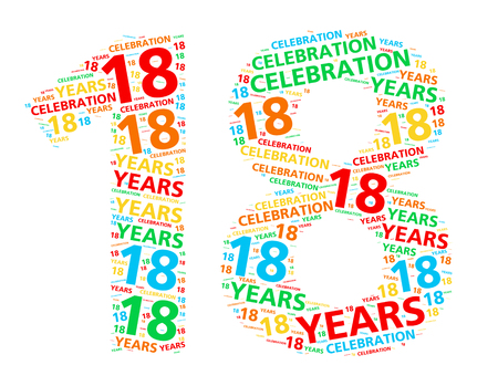 happy birthday 18: Colorful word cloud for celebrating a 18 year birthday or anniversary