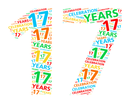 17 year old: Colorful word cloud for celebrating a 17 year birthday or anniversary