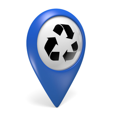 centers: Blue map pointer 3D icon with a symbol for recycling centers Stock Photo