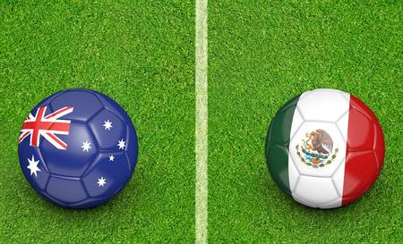 kickball: Team balls for Australia vs Mexico soccer tournament match