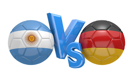 versus: Soccer versus match between national teams Argentina and Germany Stock Photo