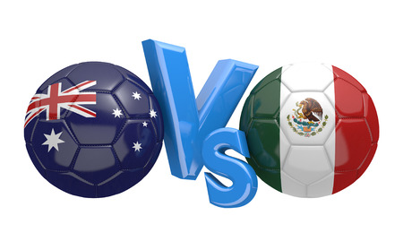 kickball: Soccer versus match between national teams Australia and Mexico Stock Photo