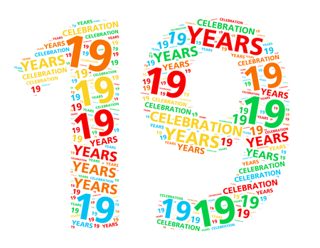festive occasions: Colorful word cloud for celebrating a 19 year birthday or anniversary