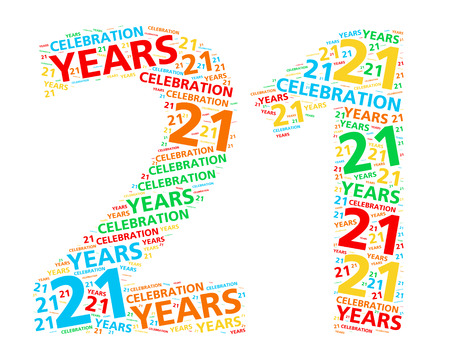 21: Colorful word cloud for celebrating a 21 year birthday or anniversary