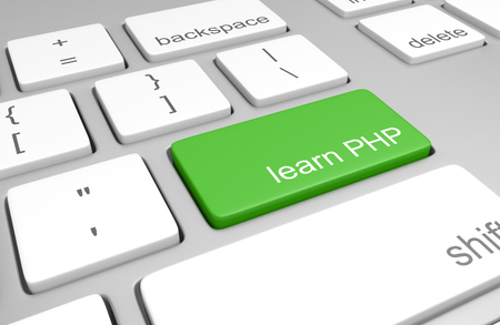 Learn PHP key on a computer keyboard for learning to code and build web pages