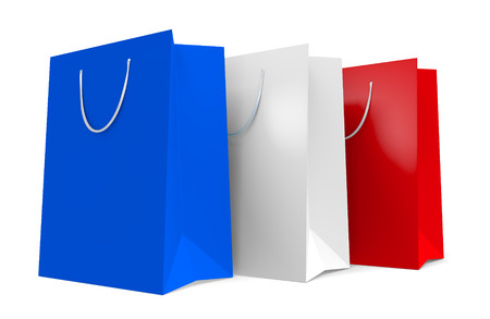 patriotic: Three paper shopping bags in patriotic red, white, and blue colors