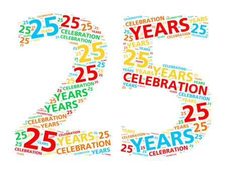 anniversary: Colorida nube de palabras para celebrar un cumplea�os o aniversario 25 a�os Foto de archivo