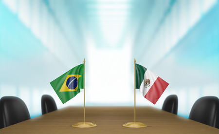 talks: Brazil and Mexico relations and trade deal talks 3D rendering Stock Photo