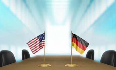conversaciones: Estados Unidos y Alemania, las relaciones y las negociaciones comerciales de acuerdo representación 3D Foto de archivo