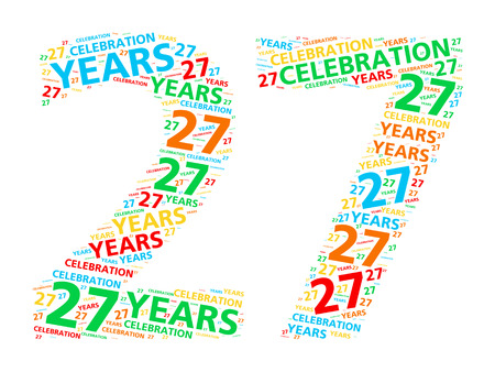 27 years old: Colorful word cloud for celebrating a 27 year birthday or anniversary