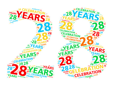 28: Colorful word cloud for celebrating a 28 year birthday or anniversary