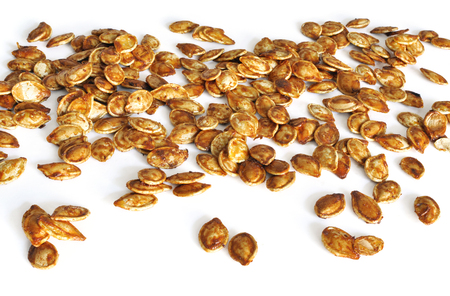 salted: Healthy vegan snack of pumpkin seeds roasted with olive oil and salt