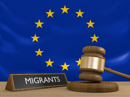 syrian war: European Union and the Syrian migrant crisis in Europe Stock Photo