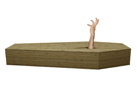 Undead zombie hand breaking out of a wood coffin on Halloween Stock Photo