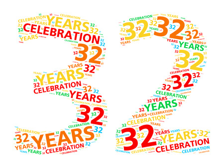 32: Colorful word cloud for celebrating a 32 year birthday or anniversary