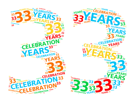 Colorful word cloud for celebrating a 33 year birthday or anniversary 版權商用圖片