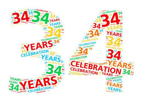 34: Colorful word cloud for celebrating a 34 year birthday or anniversary Stock Photo