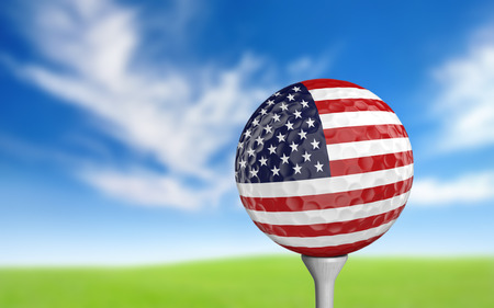 usa: Golf ball with United States flag colors sitting on a tee