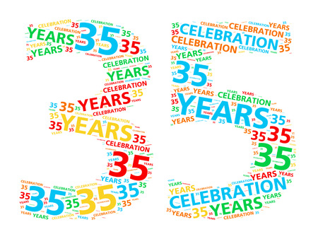 35: Colorful word cloud for celebrating a 35 year birthday or anniversary