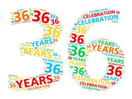 36: Colorful word cloud for celebrating a 36 year birthday or anniversary Stock Photo