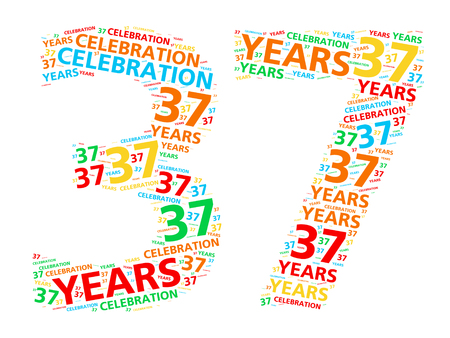 happy anniversary: Colorful word cloud for celebrating a 37 year birthday or anniversary Stock Photo