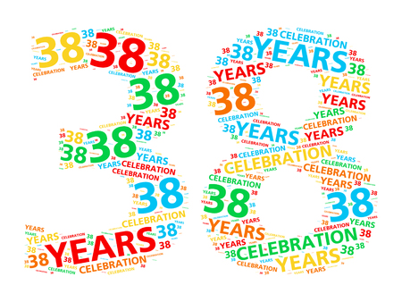 Colorful word cloud for celebrating a 38 year birthday or anniversary
