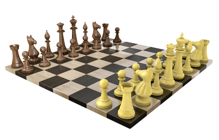 light game: 3D chess board with wooden dark and light game pieces
