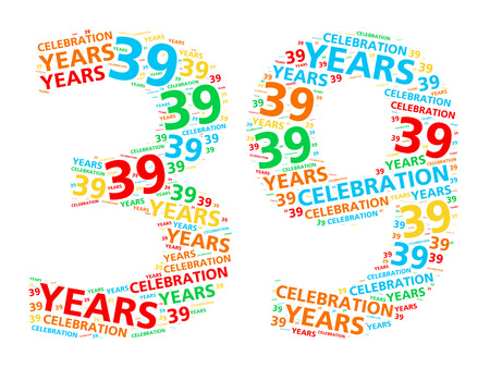 Colorful word cloud for celebrating a 39 year birthday or anniversary Stock Photo