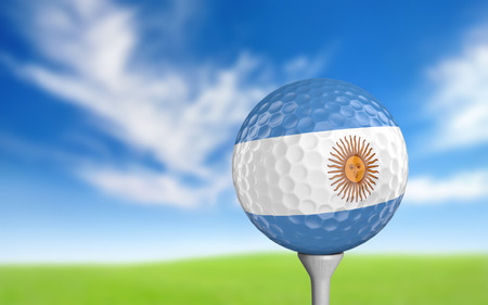 argentina flag: Golf ball with Argentina flag colors sitting on a tee
