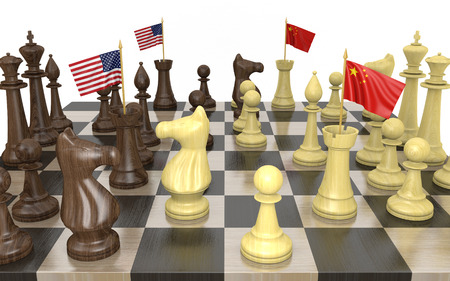 race relations: United States and China foreign policy strategy and power struggle Stock Photo