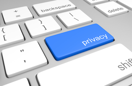 personal data privacy issues: Computer keyboard with a key for accessing user privacy information