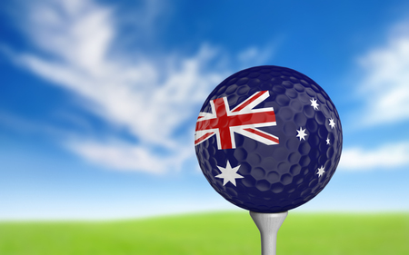 golf ball: Golf ball with Australia flag colors sitting on a tee Stock Photo