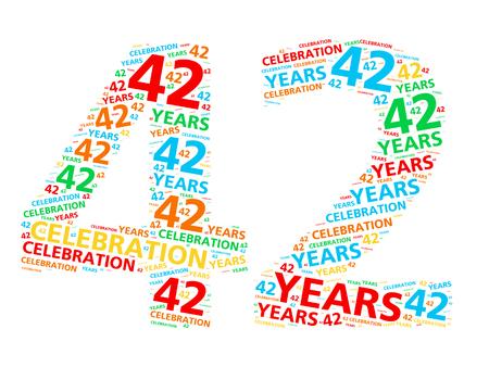42 년 생일 또는 기념일을 축하하기위한 다채로운 단어 구름