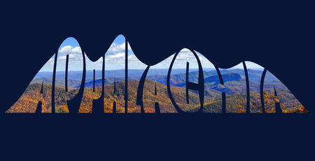wnc: Stylized text forming a picture of the Appalachian Mountains in autumn Stock Photo