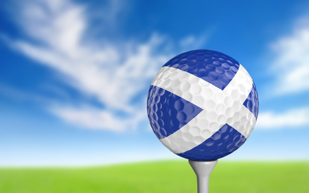 golfing: Golf ball with Scotland flag colors sitting on a tee