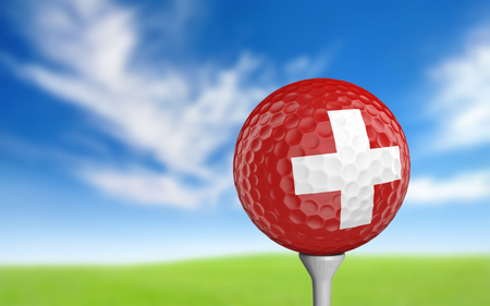 ball game: Golf ball with Switzerland flag colors sitting on a tee