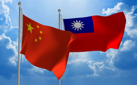 china: China and Taiwan flags flying together for diplomatic talks