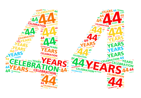 festive occasions: Colorful word cloud for celebrating a 44 year birthday or anniversary Stock Photo
