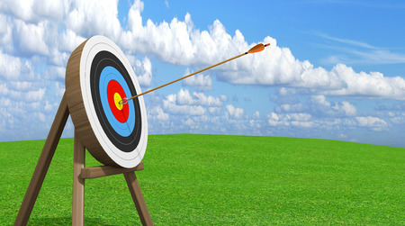 Archery target with an arrow stuck accurately in the center ring bullseye 報道画像