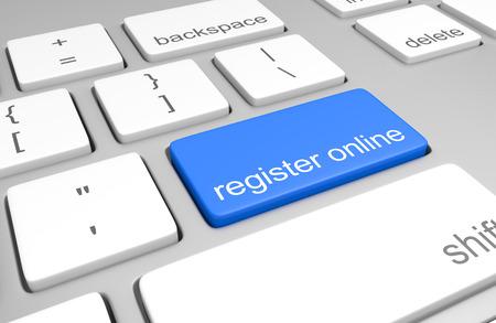 Register online key on a computer keyboard for easy registration access