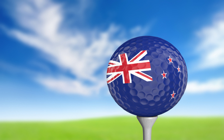 new zealand flag: Golf ball with New Zealand flag colors sitting on a tee Stock Photo