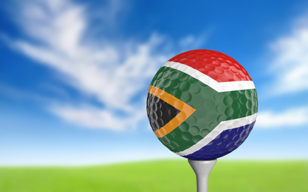 golf tee: Golf ball with South Africa flag colors sitting on a tee Stock Photo