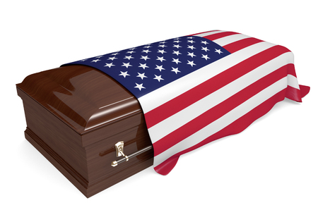 Coffin covered with the national flag of the United States Foto de archivo
