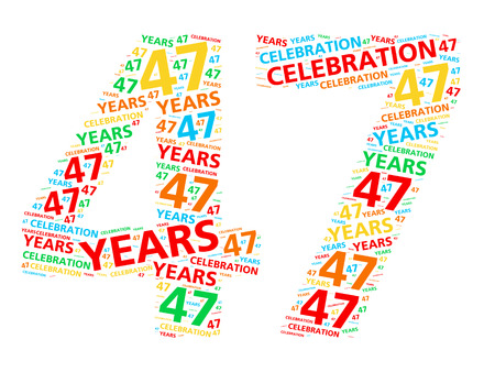 Colorful word cloud for celebrating a 47 year birthday or anniversary