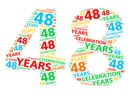 48: Colorful word cloud for celebrating a 48 year birthday or anniversary