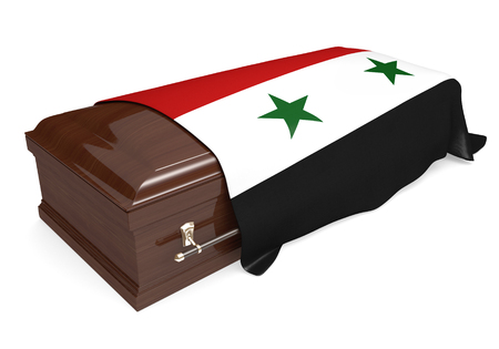 life and death: Coffin covered with the national flag of Syria Stock Photo