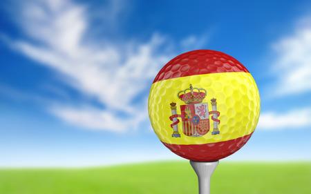 spanish flag: Golf ball with Spain flag colors sitting on a tee Stock Photo
