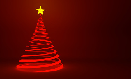 red christmas background: Modern red ribbon Christmas tree design with gold star Stock Photo